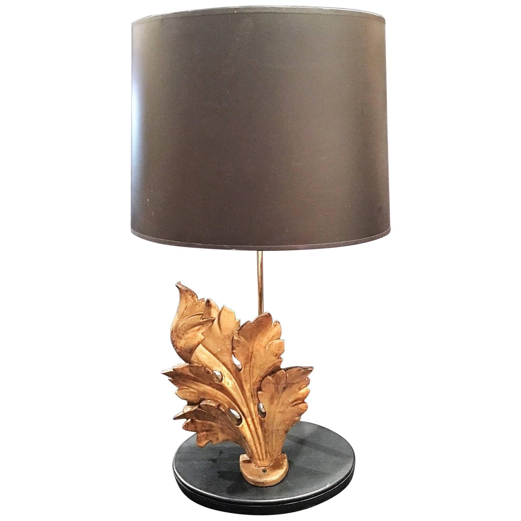 Italian Giltwood Foliate Ornament Adapted as a Lamp, 19th Century