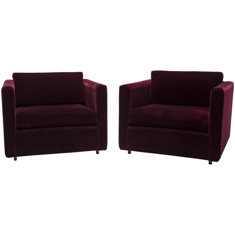 """Pair of Vintage Knoll """"Pfister"""" Lounge Chairs in Deep Red Mohair"""