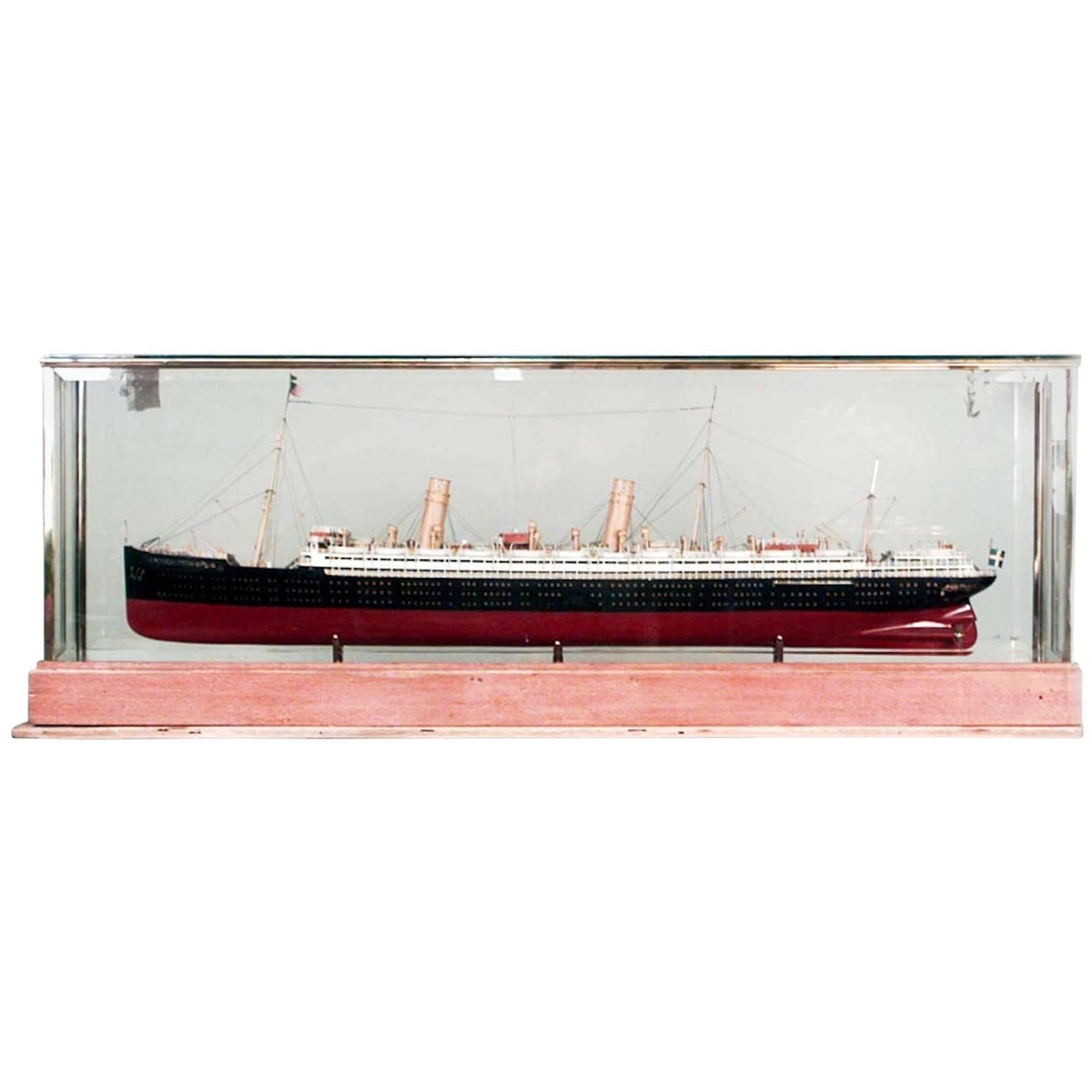 German Luxury Liner Ship Model in Glass Case