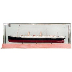 Ship Model of Swedish Luxury Liner in Glass Case