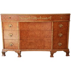 Antique Burled Maple French Carved Dresser by Romweber, circa 1920s