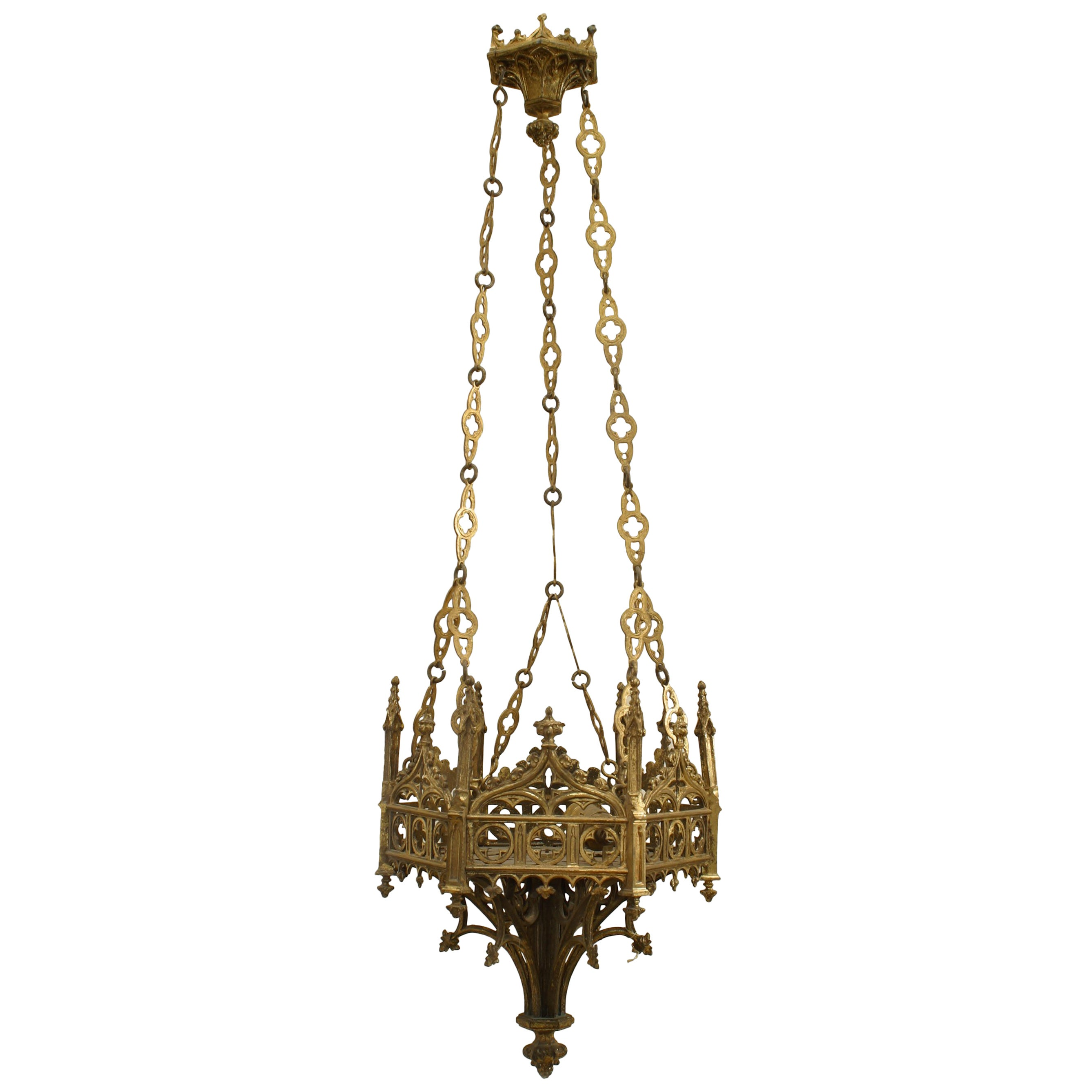 Similar English Gothic Revival Style, 19th Century Six-Sided Sanctuary Fixtures