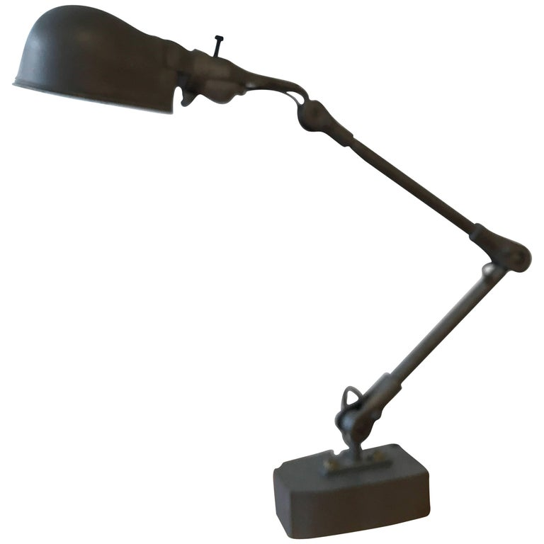 Industrial Articulating Cast Iron Task Desk Lamp