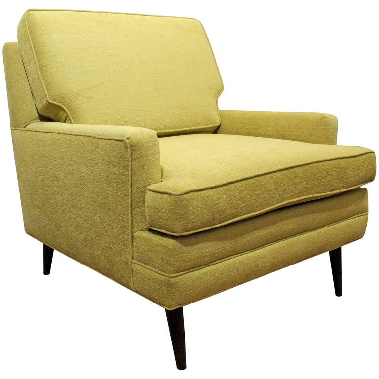 Mid-Century Modern Thayer Coggin Style Chartreuse Pencil Leg Club Chair