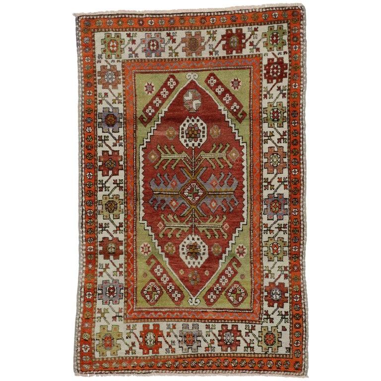 Vintage Turkish Oushak Rug, Colorful Rug For Kitchen, Bath