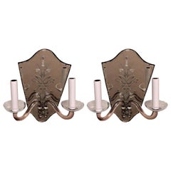 Wonderful Vintage Etched Mirror Back Crystal Shield Back Two-Light Sconces, Pair