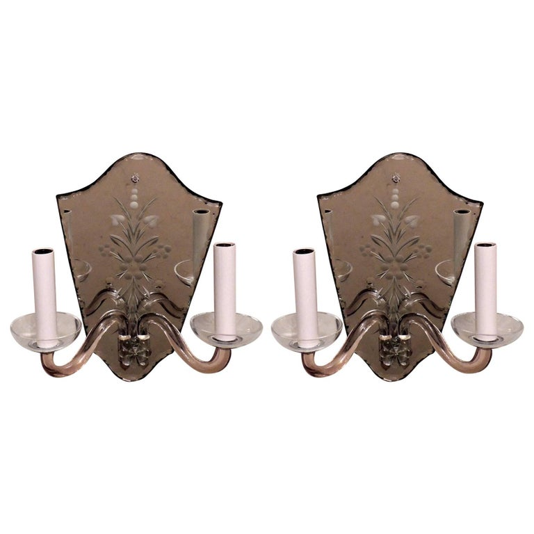 Wonderful Vintage Etched Mirror Back Crystal Shield Back Two-Light Sconces, Pair