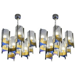 Pair of Chandeliers in Brass and Nickel Finishes by Gaetano Sciolari with Glass