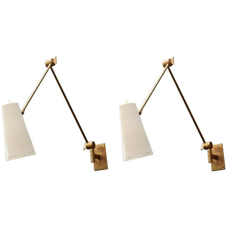 Pair of Articulated Arm and Cone Brass Wall Sconces by Stilnovo