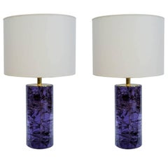 Pair of Vibrant Purple Fractale Resin Table Lamps