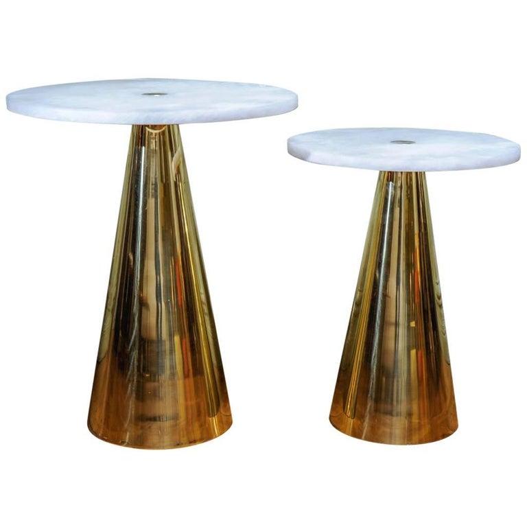 Pair of Alabaster and Brass Pedestals