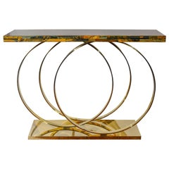 Brass and Tiger Eye Console