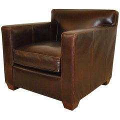 Ralph Lauren Graham Armchair in Distressed Brown Leather