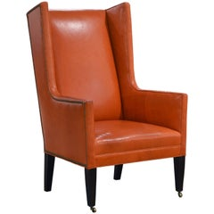 Elegant Modern Design Leather Wing Back Chair in Hermes Orange Color
