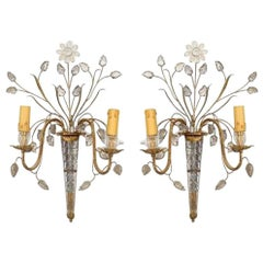 Pair of French 1940s Glass and Gilt Wall Sconces, Attributed: Baguès