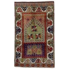 Vintage Turkish Oushak Rug, Colorful Rug for Kitchen, Bath, Foyer or Entryway