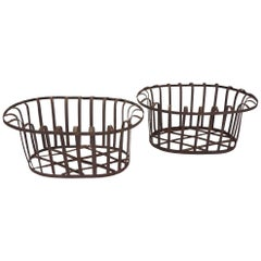 Pair of French Wrought Iron Flower Baskets from the Estate of Bunny Mellon
