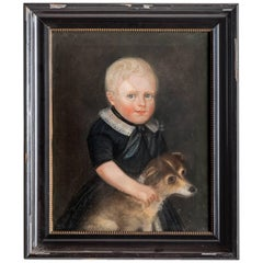 Portrait of a Child with Dog, Netherlands, circa 1848