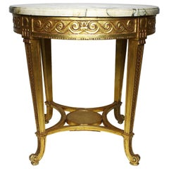 French Louis XV Style Giltwood Carved Gueridon Side Table with Marble Top