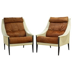 Pair of Poltrona Frau 'Dezza' Leather and Cow Hide Lounge Chairs by Gio Ponti