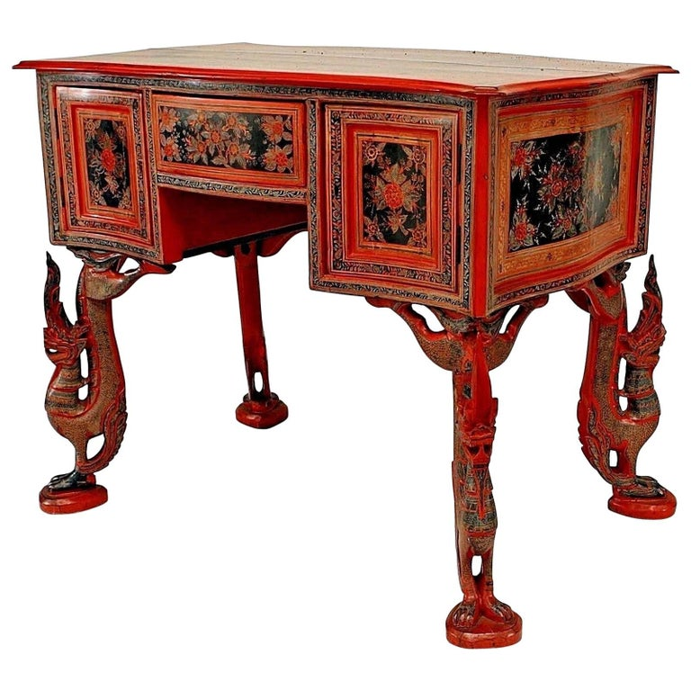 Southeast Style '19th Century' Red Lacquer Decorated Desk with Figural Bird