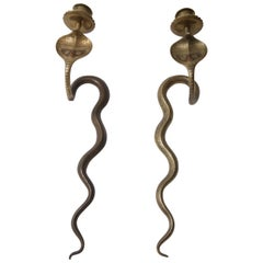 Pair of Egyptian Revival Cobra-Form Wall Mount Candleholders