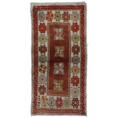Vintage Turkish Oushak Accent Rug with Color Pop, Anatolian Yuntdag Rug
