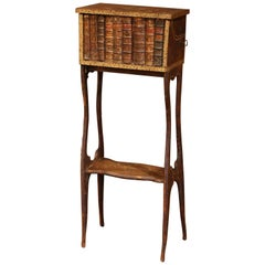 Early 19th Century French Faux Leather Bound Books Liquor Cabinet with Glasses