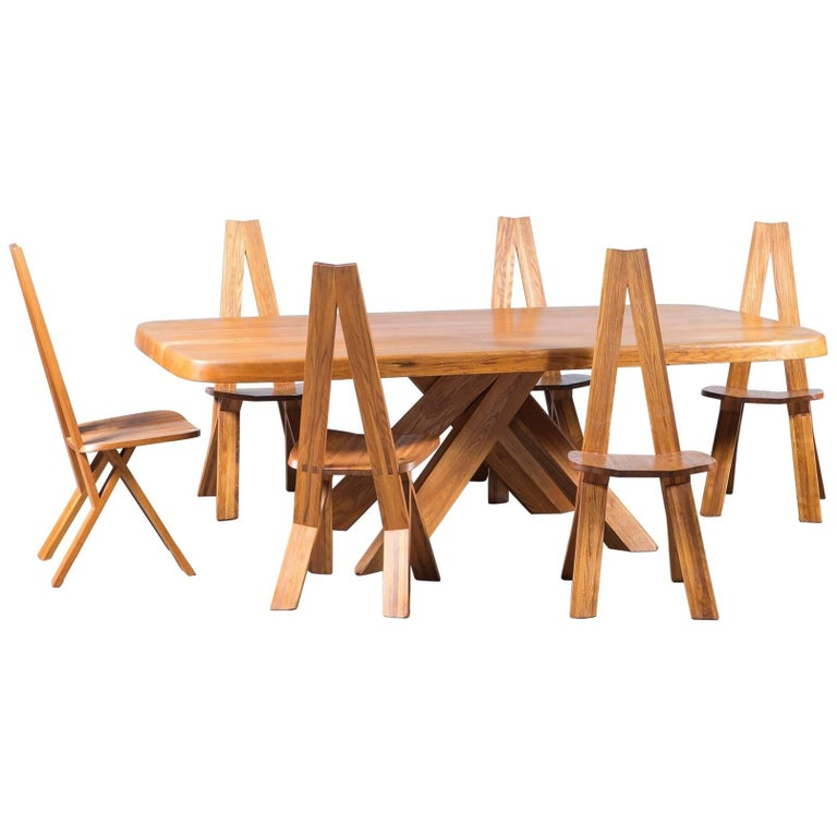 Pierre Chapo Elmwood Dining Table and Six Chairs