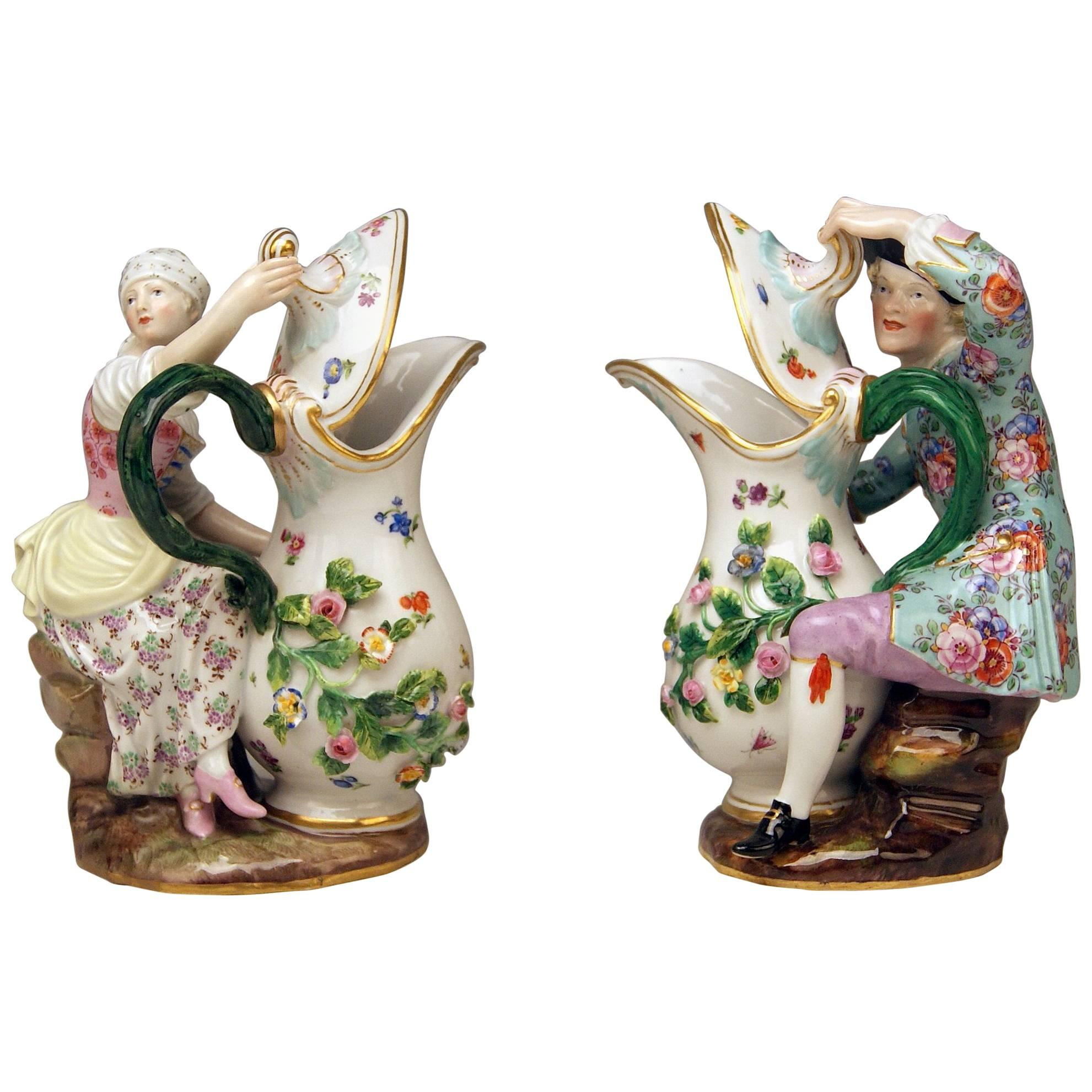 Meissen Pair of Figurines with Jug Pitcher by Eberlein Models 1234 907 made 1850