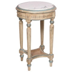 Round Hand-Carved Occasional Table with White Marble Top