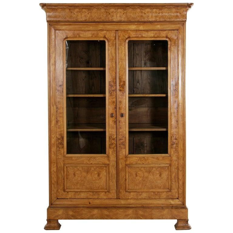 Late 19th Century Louis Philippe Style Burl Ash Bibliotheque, Bookcase, Vitrine
