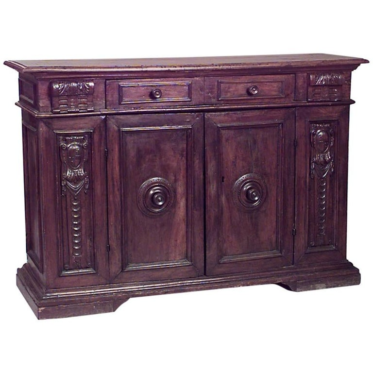 Spanish Renaissance Style '17th Century' Large Walnut Sideboard Cabinet