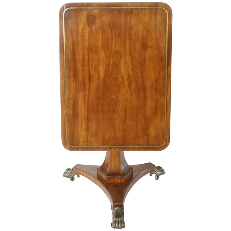 English Regency Brass-Inlaid Mahogany Tilt-Top Table, circa 1820