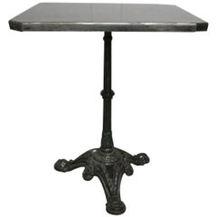 French 1920s Iron Base Table with Custom Metal Top Bistro Table