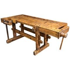 Antique European Oak Carpenters' Workbench, 1920s