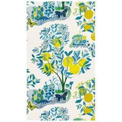 Schumacher Josef Frank Citrus Garden Floral Pool Blue Wallpaper, Two Roll Set