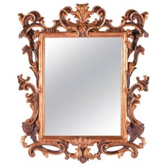 17th Century Tuscan Style Hand-Carved Mirror with Aged Glass in Bolo & Gold Leaf