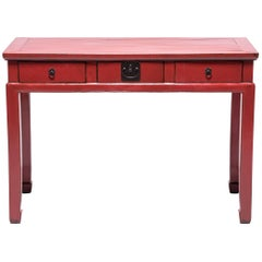 19th Century Chinese Red Lacquer Desk