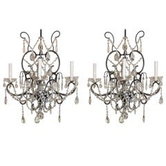 Wonderful Pair of Large Beaded Crystal Swag Italian Three-Light Sconces
