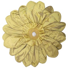 Unusual Gerber Daisy Pillow, Signed Limited Edition Green & Yellow Throw Pillow