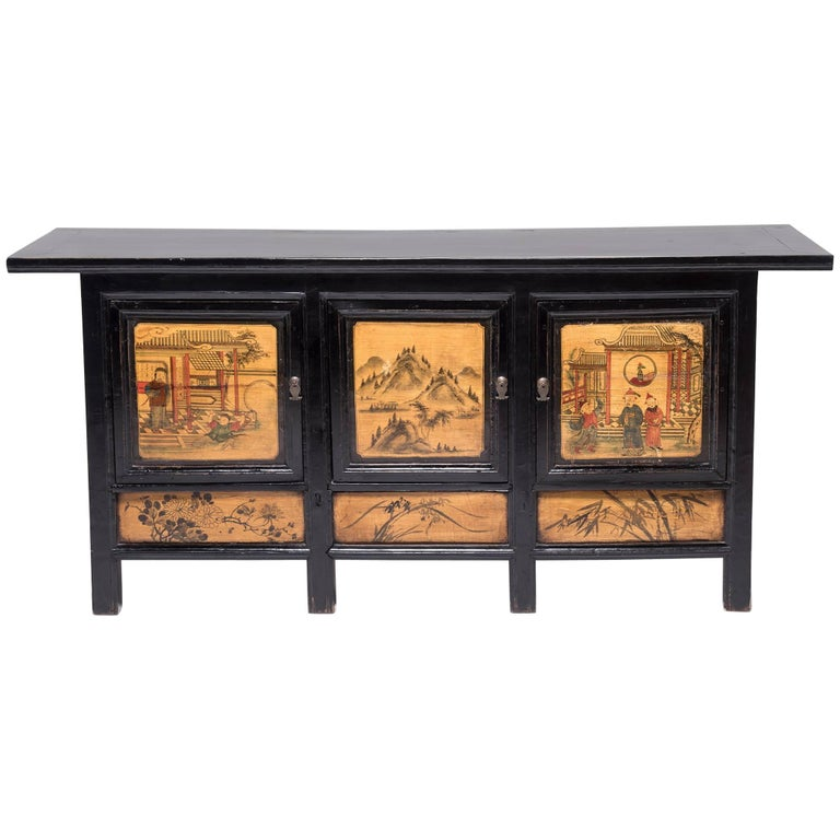 Early 20th Century Chinese Provincial Coffer with Folk Paintings