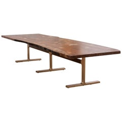Shaker Table in Claro Walnut Slab and Cast Bronze Legs