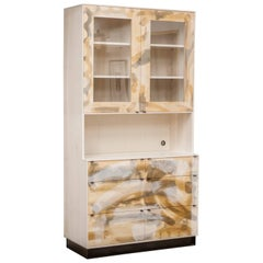 Field Hutch in Painted Maple, Bleached Ash, Blackened Metal Base and Pulls