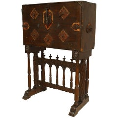 Spanish Renaissance Style Wrought Iron Mounted Walnut Vargueno