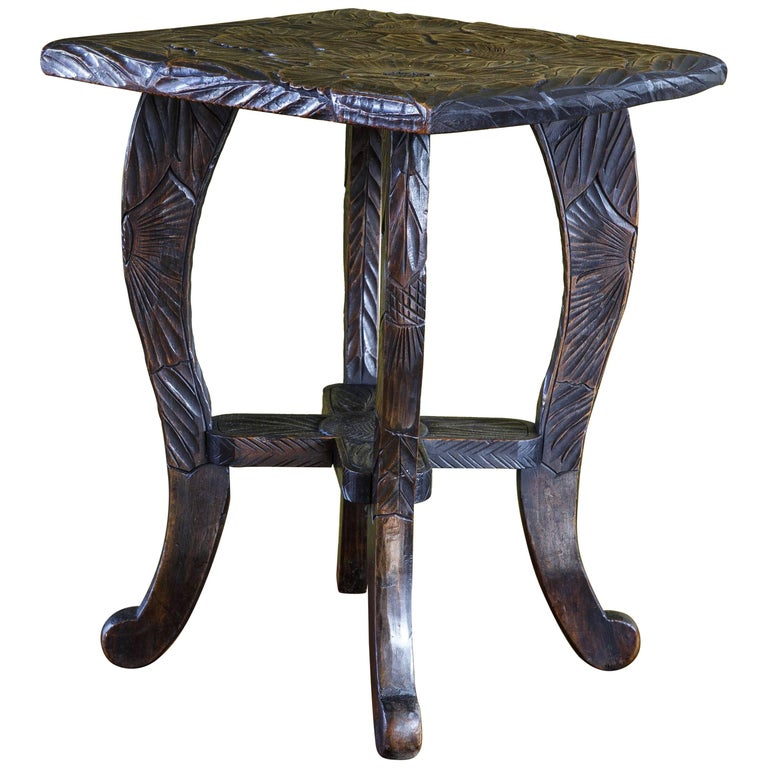 Hand-Carved Aesthetic Movement Floral Design Stool, Table