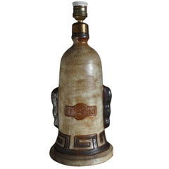 Extremely Rare & Mint Condition Ceramic / Earthenware Martini Bottle Table Lamp