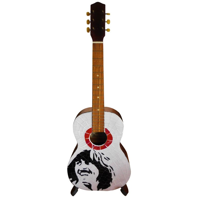 Beatles George Harrison Stained Glass Japanese Acoustic Guitar Artist Signed