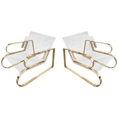 "Pair of Brass & Lucite ""Double Waterfall"" Lounge Chairs by Charles Hollis Jones"