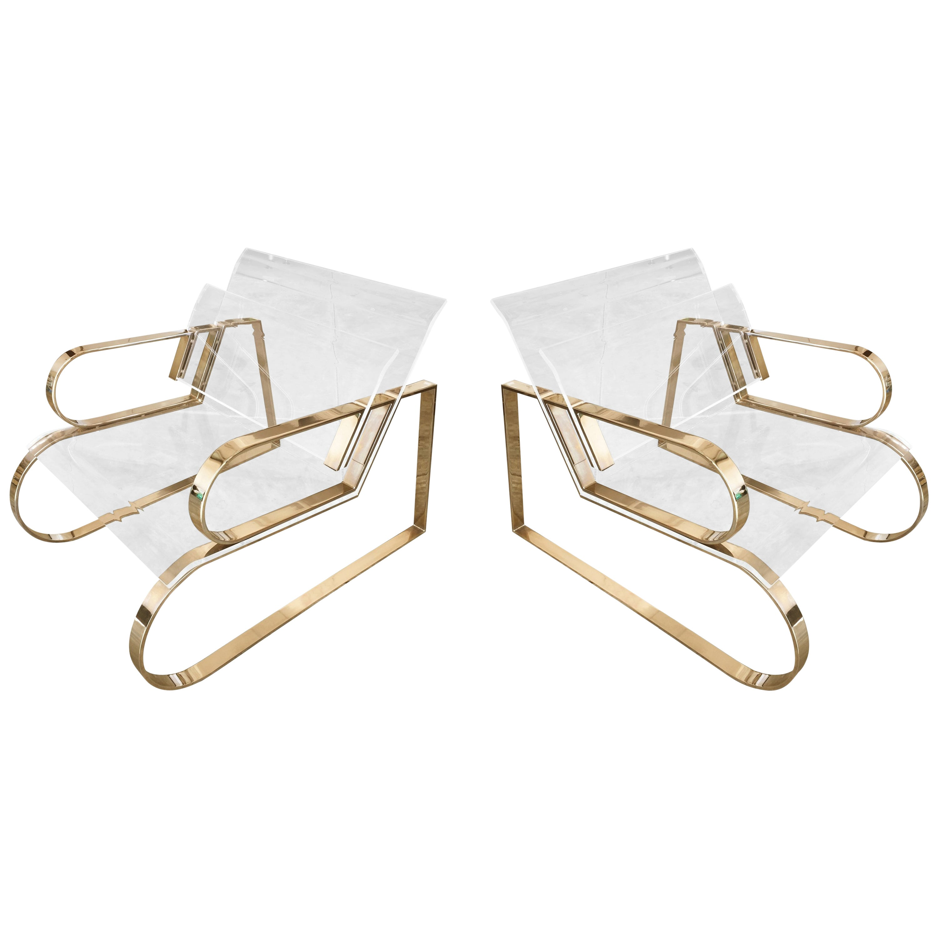 """Pair of Brass & Lucite """"Double Waterfall"""" Lounge Chairs by Charles Hollis Jones"""